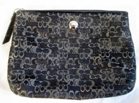 COACH Signature C Jacquard Baguette Purse Wallet Clutch Evening Bag BLACK SILVER