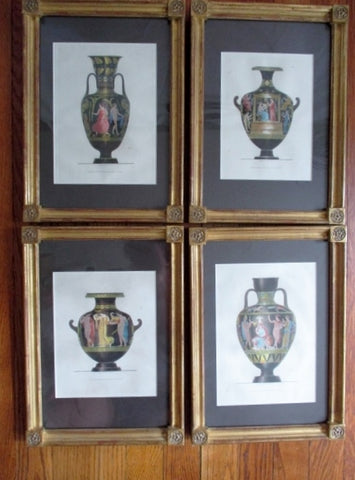 Antique Set 1800s HENRY MOSES ETRUSCAN VASE Picture Print ART Decor BLACK GOLD