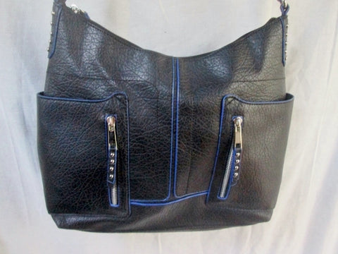 ATTENTION vegan shoulder bag tote carryall satchel Zipper Stud NAVY BLUE L
