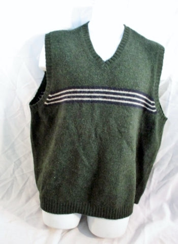 Mens J. CREW Winter Knit Ski SHETLAND Vest Sleeveless Sweater XL Wool GREEN