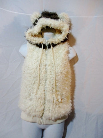 Womens ME JANE Faux Fur Shaggy Hoodie Vest Coat Jacket BEAR M White Brown