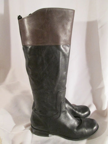 NINE WEST Knee High CROMIE LEATHER RIDING BOOT BLACK 10 BROWN Moto Biker