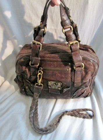 JUICY COUTURE Stud Leather Satchel Shoulder Bag Boho BROWN Hipster Western Style