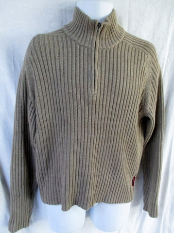 NEW Mens ABERCROMBIE MUSCLE Knit Ski Sweater L Cotton BROWN OATMEAL