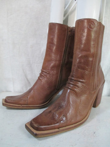 Womens BRONX SHOES LEATHER Western Ankle High Heel BOOT BROWN 7.5