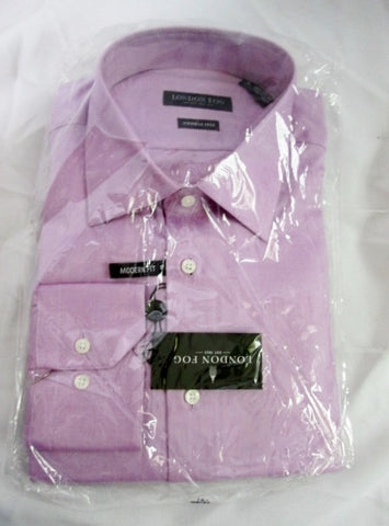 NEW LONDON FOG Wrinkle Free Dress Shirt 16 - 34/35 PURPLE MODERN FIT Mens