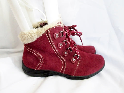 Womens EARTH ORIGINS Ankle Lace Up Suede Leather Boot 11 RED  CROWLEY Sherpa