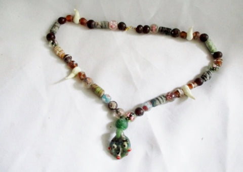 Ethnic African GLASS HEAD Trade Bead Tribal Necklace AFRO FASHION Handmade