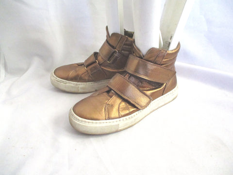 SONIA RYKIEL Leather Hi-Top Fashion Sneaker TRAINER Shoe 36 GOLD Sport