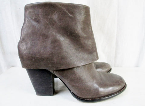 Womens VINCE CAMUTO BRASS Sheath Leather Ankle Boots Shoes 8.5 BROWN MOSS
