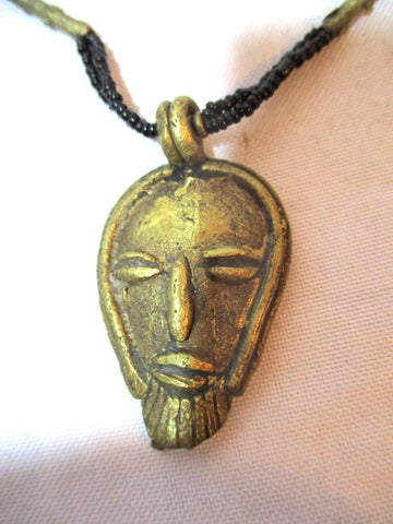 Ethnic African BRONZE HEAD Tribal Necklace AFRO FASHION Black Love Bead