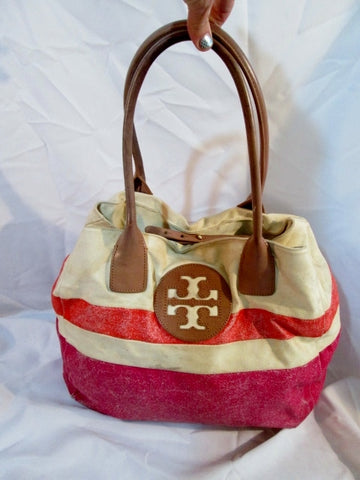 TORY BURCH Natural Dipped Canvas Beach Tote Bag Carryall Leather PINK WHITE