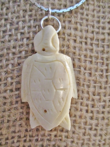 "16"" CARVED TURTLE MOTHER EARTH HEALTH LIFE Necklace Choker Pendant"