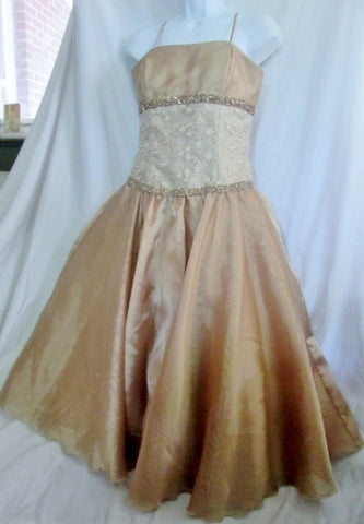 WOMENS C.W. DESIGNS Dress Evening Gown M GOLD BROCADE BEAD Bridesmaid  Wedding
