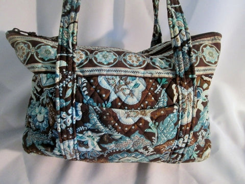 VERA BRADLEY JAVA BLUE Vegan Quilted Satchel TOTE Book Bag Carryall Shopper BROWN