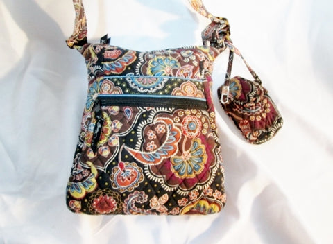 VERA BRADLEY FAN KENSINGTON Quilted Crossbody Hobo Bag Satchel BROWN PAISLEY