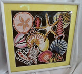 "18"" Handmade Needlepoint Framed Art STARFISH MERMAID Nautical SEASHELL Americana"