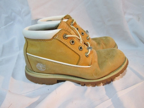 Junior Boys TIMBERLAND PREMIUM Boot Leather 6.5 WHEAT NUBUCK BROWN WHITE