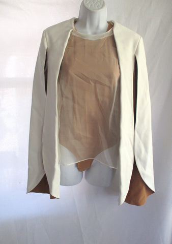 NEW NWT CELINE Set BLAZER LEOTARD BODYSUIT 38 / M CREME BEIGE NATURAL