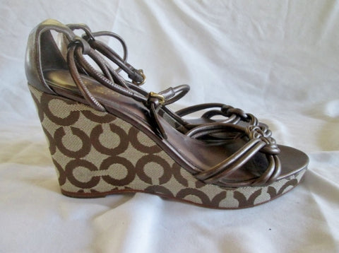 Womens COACH KINSEY Wedge Sandals High Heel 9 BROWN SIGNATURE JACQUARD