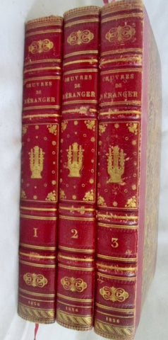 Antique 1836 Set Leather OEUVRES COMPLETES BERANGER Book HC RED FRENCH