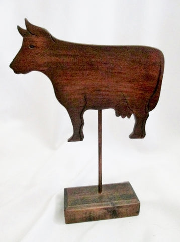 Vintage Signed A. NAPPO Handmade Wood COW FARM Figurine Sculpture Primitive Rustic