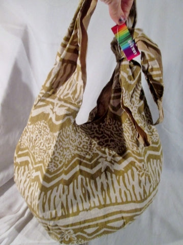 NEW ARKASH slouch sling satchel shoulder bag vegan BATIK BROWN WHITE Wild