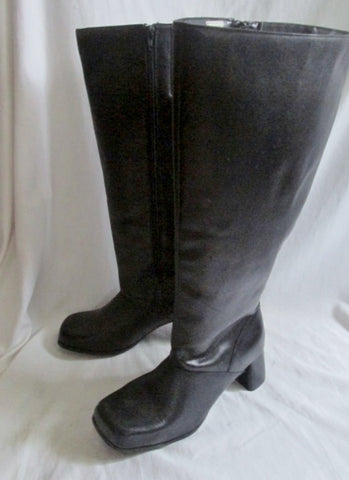 New Womens SILHOUETTES Faux Leather Thigh High Heel Boots FETISH BLACK 9.5W Diva