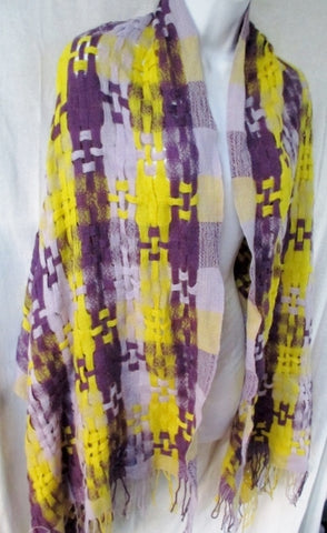 "82"" Woven Fabric NECK SCARF Shawl Wrap PURPLE YELLOW Hipster Boho Indie"