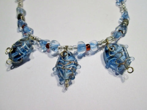 "17"" Handmade MURANO ITALY FISH Glass Bead Necklace Choker Collar BLUE SILVER Statement"