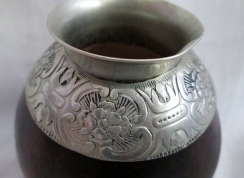 Handmade MATE CUP GOURD SILVER Rim Ethnic Latin Embossed Etched FOLK ART