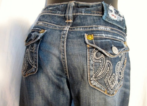 Womens MEK DENIM OAXACA JEANS Denim PANTS Dungarees BLUE 27 X 32 Embroidered