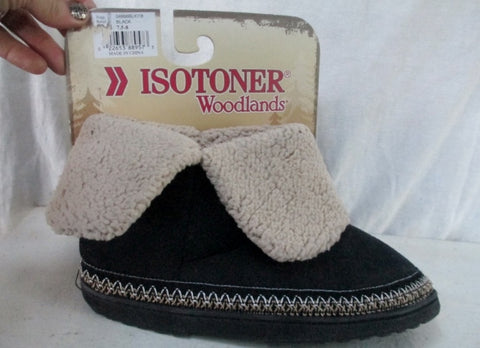 NEW Womens ISOTONER WOODLANDS Faux Suede Fur Clog Moc Slippers 7.5-8 BLACK