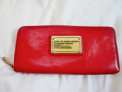 Authentic MARC BY MARC JACOBS coin purse Wallet Organizer Leather Zip RED