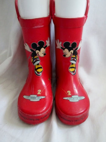 Toddler Childrens Kids DISNEY MICKEY MOUSE RAIN BOOT Wellies Gumboots RED 10