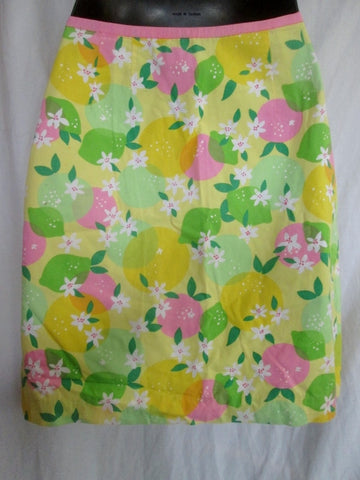 Womens LILLY PULITZER Cotton Mini SKIRT YELLOW LIME GREEN 4 Floral Preppie