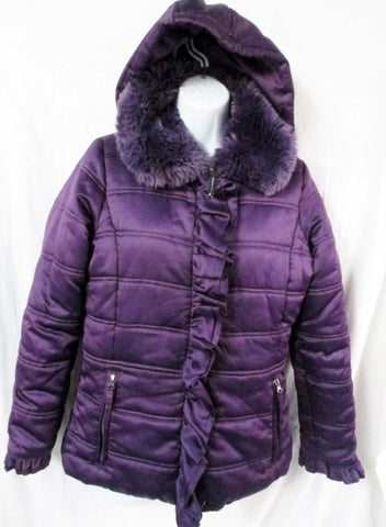 Girls Junior Teen ROTHSCHILD JACKET Hood Coat Ruffle PLUM PURPLE XL 18