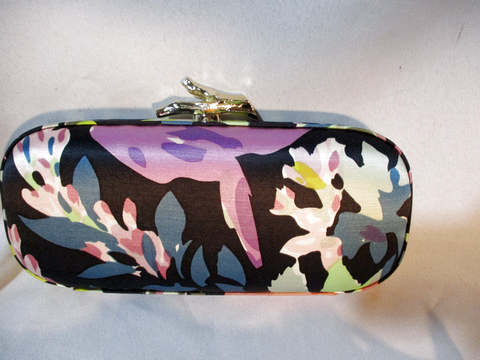 NWT NEW DIANE VON FURSTENBERG SILK CLUTCH Case Box Bag FLORAL