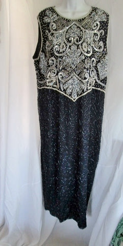 NEW NWT Brilliante BY J.A. Long Beaded Evening Maxi Dress Gown 2X SILVER NAVY BLUE