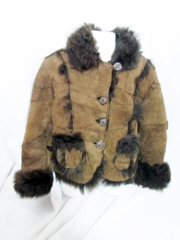 BOMB BOOGIE ITALY Designer Coat Jacket Leather Fur Italy Sz 4 BROWN Boho Kids