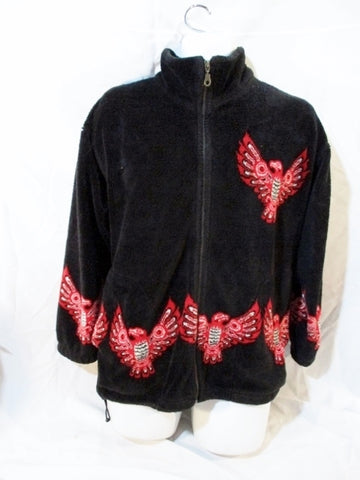 Mens TEEPEE CANADA NATIVE EAGLE Fleece Coat Jacket Black RED S Ethnic