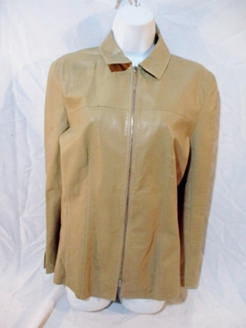 Vintage Womens GIMO'S ITALY Glove Soft Leather Jacket Coat BEIGE TAN 44 / 8