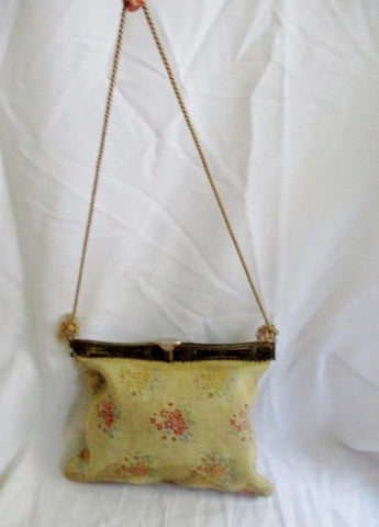 Vintage Embroidered Purse Convertible Bag ECRU FLORAL Fringe Tassel Retro