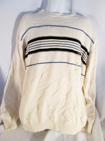 NEW Mens ALEXANDER JULIAN COLOURS Striped Crewneck Knit Ski Sweater 3XLT WHITE GRAY BLUE