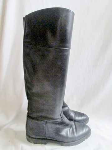 Womens FRENCH FOLLIES Knee High Leather Moto Riding Boot Rocker BLACK 8.5 Shoe