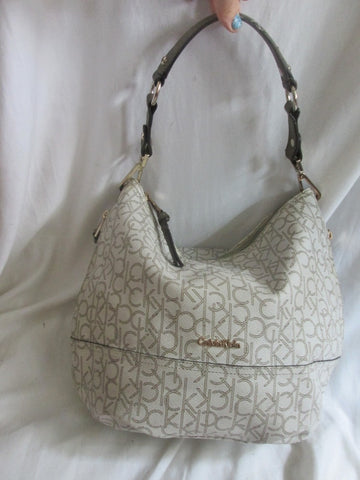 CALVIN KLEIN CK leather hobo satchel shoulder signature bag handbag WHITE GOLD purse