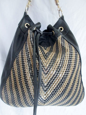 BIG BUDDHA Vegan Shoulder Bag Tote Handbag Satchel Hobo BLACK XL Gold