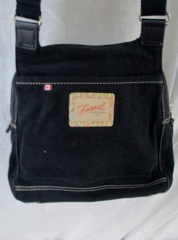 FOSSIL messenger satchel shoulder flap cross body travel wallet BLACK M