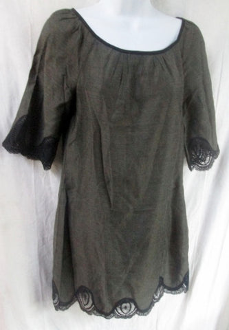 WOMENS THORN by NANCY ROSE Mini Dress Gown Lace 2 BLACK GRAY Sheath