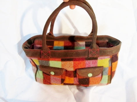 NEW ECHO PATCHWORK PLAID satchel tote Shoulder bag MULTI Suede RED Pockets